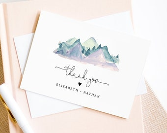 Mountain Thank You Card Template, Editable Wedding, Bridal Shower, Baby Shower Thank You Note Card, Printable, INSTANT DOWNLOAD #063-132TYC