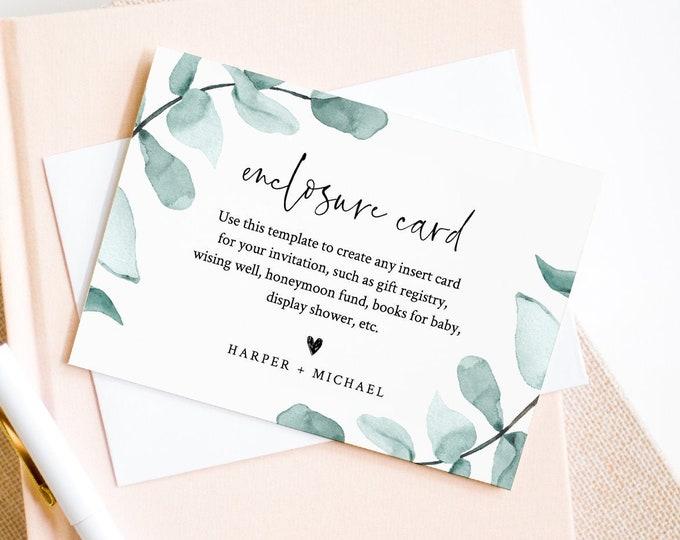 Eucalyptus Enclosure Card Template, Wedding, Bridal Shower, Baby Shower, Book Request, Display Shower, Wishing Well, Diaper Raffle 049-143EC