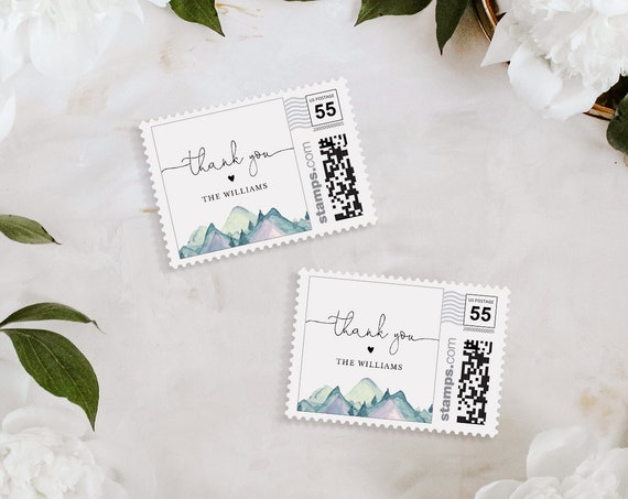 Wedding Postage Stamp Template, Photostamps.com, Rustic Winter Mountain, Instant Download, 100% Editable Text, Templett #063-102PS