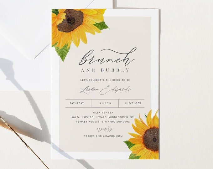 Sunflower Bridal Brunch Shower Invitation, Brunch and Bubbly Invite, Editable Rustic Wedding Shower, Instant Download, Printable #0010-275BS