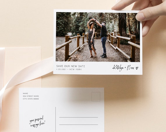 Photo Change of Plans Postcard, Postponed Wedding Date Announcement Template, 100% Editable, Instant Download, Templett, 4x6 #090-119PA