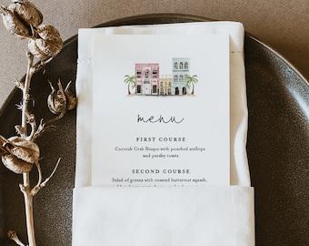 Charleston Menu Template, Rainbow Row, Printable Wedding Dinner Menu Card, 100% Editable Text, Instant Download, Templett #017B-175WM