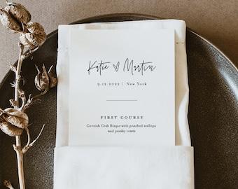 Minimalist Menu Template, Printable Modern Simple Wedding Dinner Menu Card, 100% Editable, INSTANT DOWNLOAD, Templett, 3.5x8.5 #0009-197WM