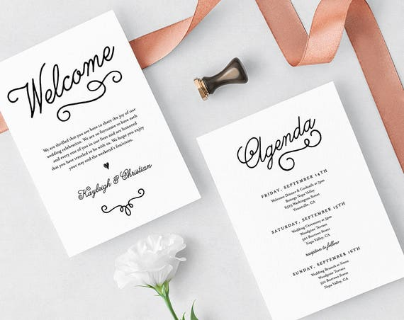 Welcome Letter & Agenda, Wedding Welcome Bag Card, Itinerary, Printable, Instant Download, 100% Editable Template, Templett, DIY #035-108WB
