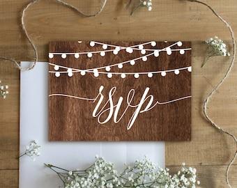 RSVP Card Template, Printable Response Card, Rustic Wedding, Wood String Lights , DIY, Instant Download, 100% Editable, Digital #014