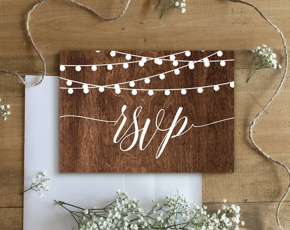 RSVP Card Template, Printable Response Card, Rustic Wedding, Wood String Lights , DIY, Instant Download, 100% Editable, Digital #014