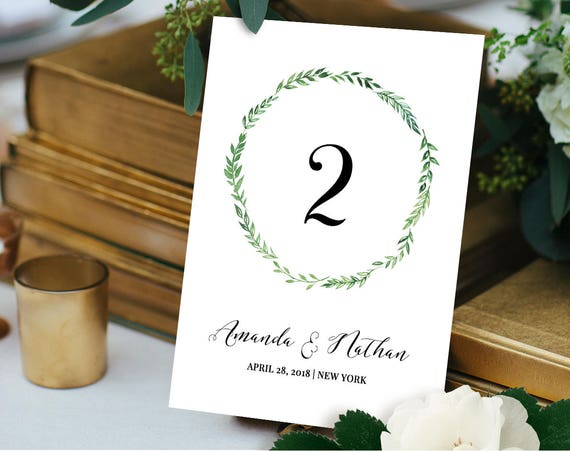Printable Table Number Card, Reception Table Seating Template, DIY Table Card Template, Green Wreath, 100% Editable, Digital #026-107TC
