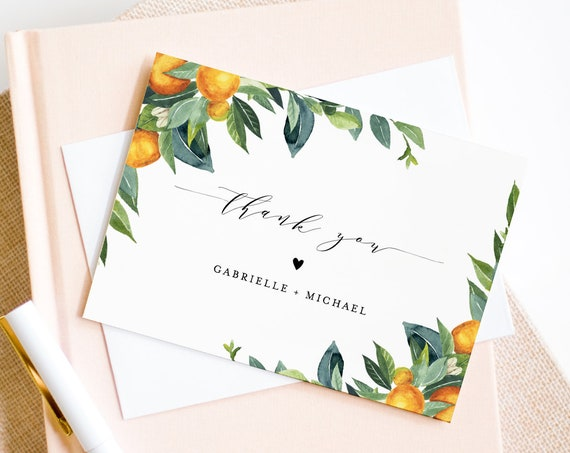 Citrus Thank You Card Template, Editable Wedding, Bridal Shower, Baby Shower Thank You Note Card, Printable, INSTANT DOWNLOAD #084-130TYC
