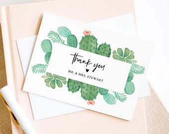 Succulent Thank You Card Template, INSTANT DOWNLOAD, 100% Editable Text, Printable Cactus Wedding Thank You Folded Card, DIY #086-131TYC