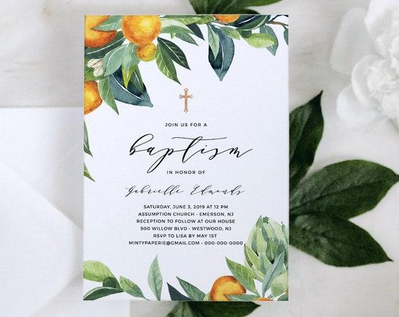 Citrus Baptism Invitation Template, INSTANT DOWNLOAD, Printable Summer Orange Christening Invite, 100% Editable Text, Templett #084-110BC