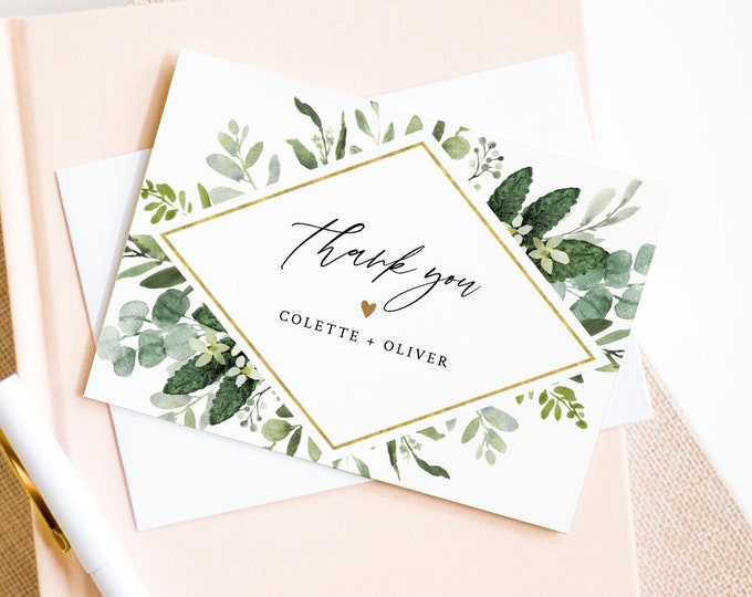 Thank You Note Card Template, Printable Greenery & Gold Wedding / Bridal Shower Folded Card, INSTANT DOWNLOAD, Editable Text #082-124TYC