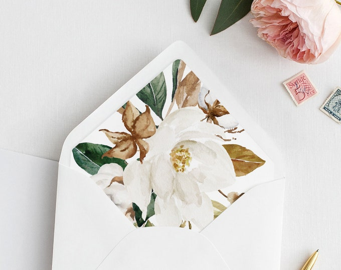 Magnolia Envelope Liner Template, Southern Cotton Theme Wedding, DIY Envelope Liner, Instant Download, A1, A6, A7 & More Sizes #015-101ENL