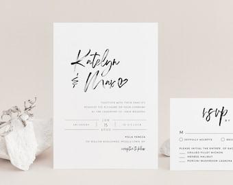 Modern Script Wedding Invitation Set, Minimalist, Classy, 100% Editable Template, INSTANT DOWNLOAD, Invite, RSVP, Details, Templett #090A