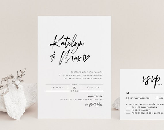 Modern Script Wedding Invitation Set, Minimalist, Classy, 100% Editable Template, INSTANT DOWNLOAD, Invite, RSVP, Details, Templett #090A