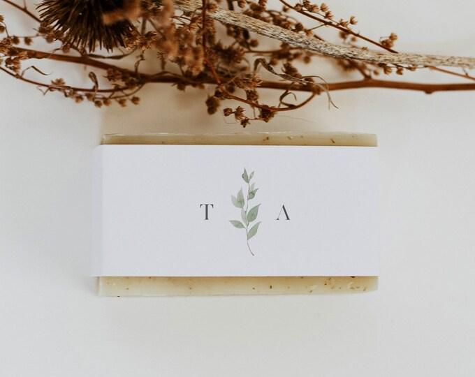 Soap Label Wrapper Template, Greenery Monogram Wedding Soap Favor, Printable, Editable, Instant Download, Templett #0004B-107SL