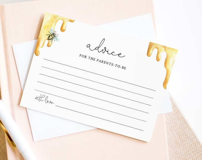 Bee Baby Advice Card Template, Honey Bee Baby Shower, Wedding, Bridal Shower, Editable Text, Printable, Instant Download, Templett 097-103AC