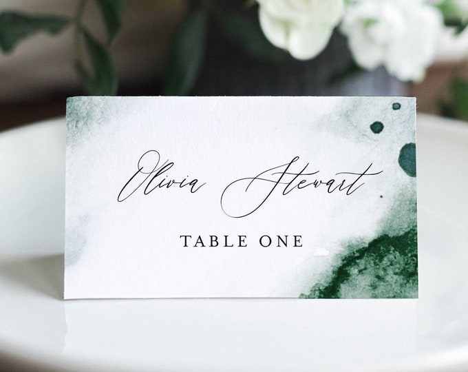 Watercolor Place Card Template, Printable Emerald Wedding Escort Card with Meal Option, INSTANT DOWNLOAD, Editable, Templett #0002-183PC