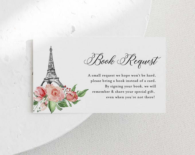 Paris Books for Baby Card, Book Request, Baby Shower Invitation Book Insert, 100% Editable Text, INSTANT DOWNLOAD, Templett #001-109BFB