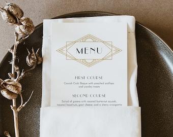 Art Deco Dinner Menu Template, Printable Minimal Retro Wedding Menu Card, 100% Editable, Gold & Black, Instant Download, Templett 0021-198WM