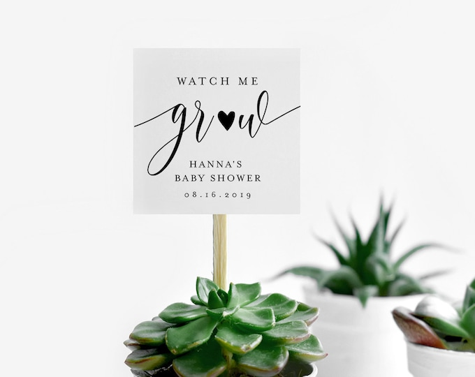 Baby Shower Favor Tag, Watch Me Grow, Plant Favor, Succulent Favor, 100% Editable Template, Instant Download, Templett #008-130SF