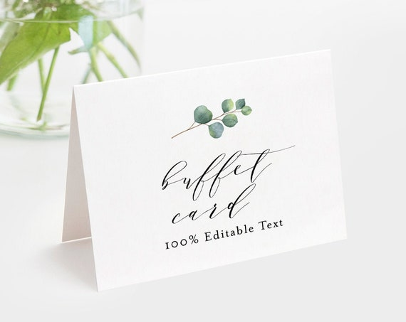 Eucalyptus Buffet Card Template, Food Label, Wedding Buffet Printable, 100% Editable Text, Tent Card, Templett, Instant Download #036-104BC