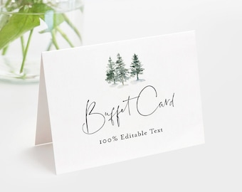 Winter Buffet Card Template, Food Label, Pine Tree Wedding Buffet Printable, Instant Download, 100% Editable Text, Templett #073-107BC