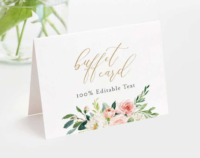Buffet Card Template, Food Label, Boho Floral Wedding Buffet Printable, Instant Download, 100% Editable Text, Tent Card, Templett #043-103BC