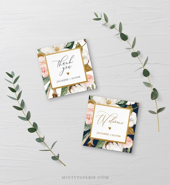 Favor Tag Template, Printable Wedding or Bridal Shower Thank You Tag / Label, Magnolia & Cotton, Instant Download, Editable Text #015-121FT