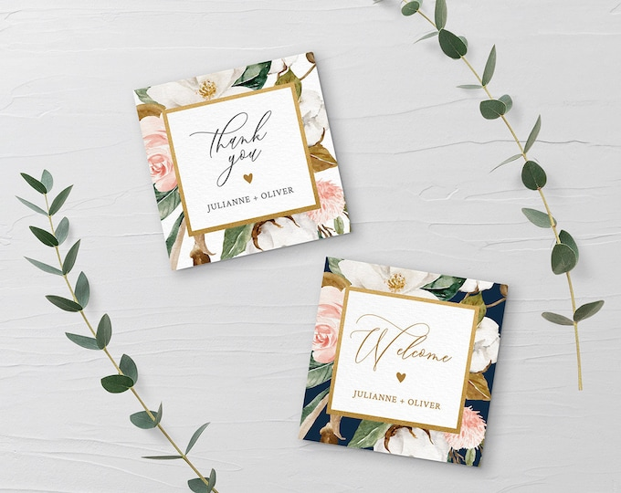 Favor Tag Template, Printable Wedding or Bridal Shower Thank You Tag / Label, Magnolia & Cotton, Instant Download, Editable Text #015-110SF