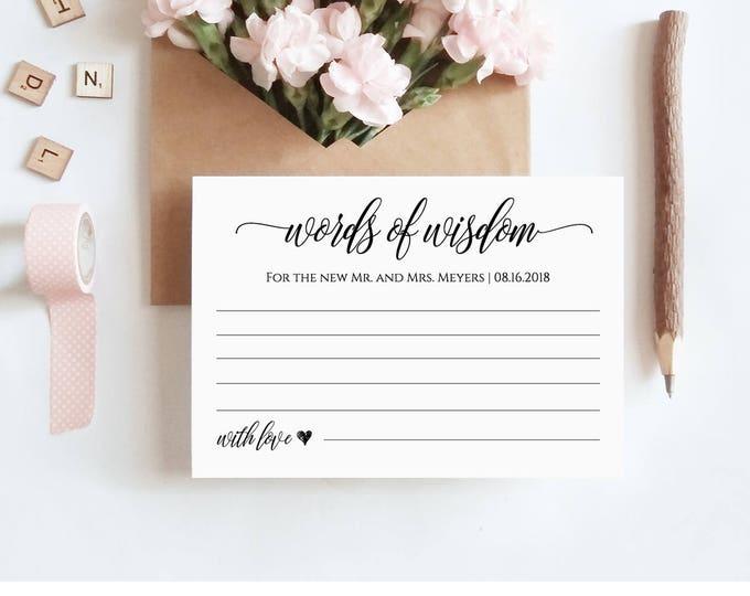 Words of Wisdom Card Template, Wedding Advice Printable Card, Bridal Shower Games, 100% Editable, Instant Download, Digital, DIY #023-106EC