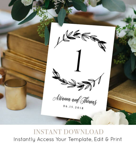 Wedding Table Number Card, Instant Download, Printable Seating Card, Rustic Wedding Reception Decor, 100% Editable Template, DIY #023-102TC