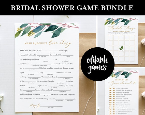 Bridal Shower Game Bundle, Editable Games, INSTANT DOWNLOAD, Customize Name & Questions, Printable Wedding Shower Game Template, DIY #044BGB