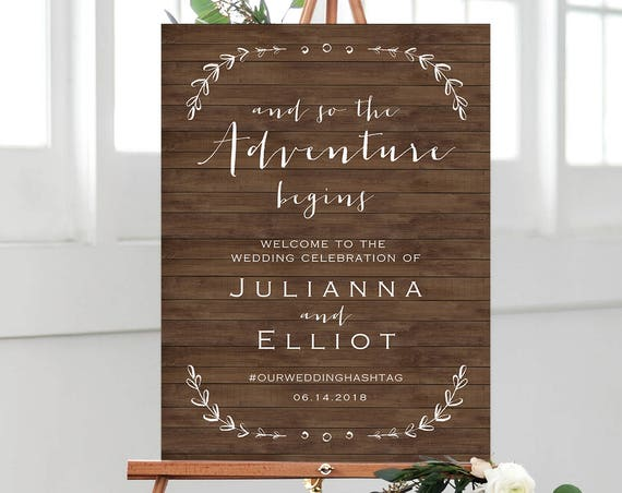 Rustic Wedding Welcome Sign Template, Printable Poster, So the Adventure Begins, 100% Editable Template, Instant Download, DIY #031-107LS