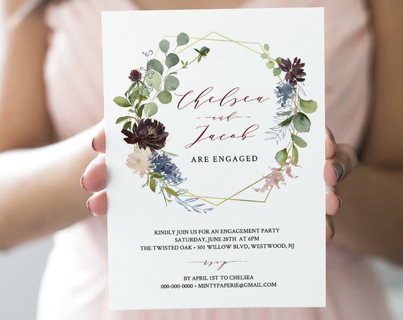 Engagement Party Invitation, INSTANT DOWNLOAD, 100% Editable Template, Engaged Announcement Printable, Burgundy and Gold Floral #040-113EP