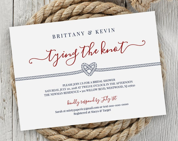 Bridal Shower Invitation Printable, Nautical Wedding Shower Invite Template, Tying / Tie the Knot, Instant Download, Editable #011-201BS