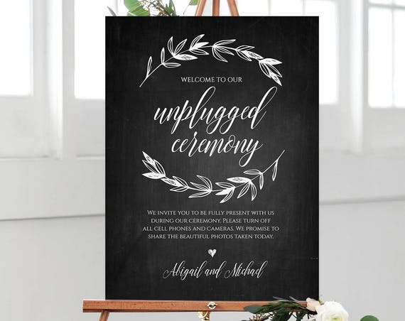 Unplugged Ceremony Wedding Sign Printable, Chalkboard Style Welcome Sign, Instant Download, 100% Editable Template, Templett, DIY #023-102LS