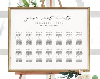 wedding seating chart template editable table arrangement etsy