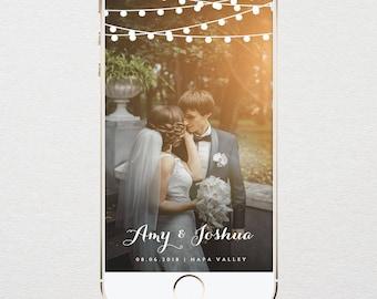 INSTANT DOWNLOAD, Wedding Geofilter, Custom SnapChat Filter, Rustic String Lights, 100% Editable, Edit Yourself, Templett  #014-105GF