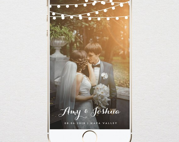 INSTANT DOWNLOAD, Wedding Geofilter, Custom SnapChat Filter, Rustic String Lights, 100% Editable, Edit Yourself, Templett  #014-105GF