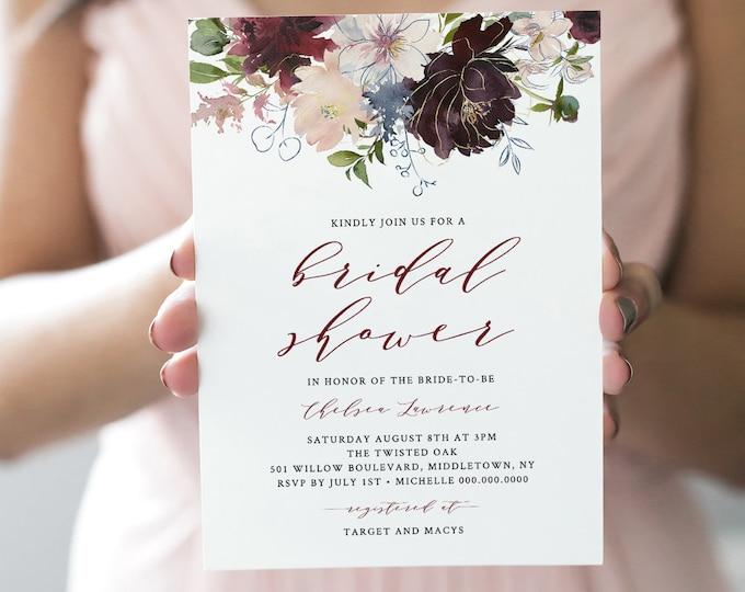 Bridal Shower Invitation Printable, Couples Shower Invite, 100% Editable Template, INSTANT DOWNLOAD, Boho Floral Burgundy & Gold #040-115BS