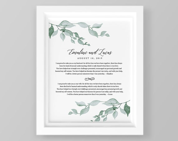 Wedding Vow Keepsake, 1st Year Anniversary Gift, Paper Gift, 100% Editable Template, Printable, INSTANT DOWNLOAD, 8x10 & 16x20 #019-114LS