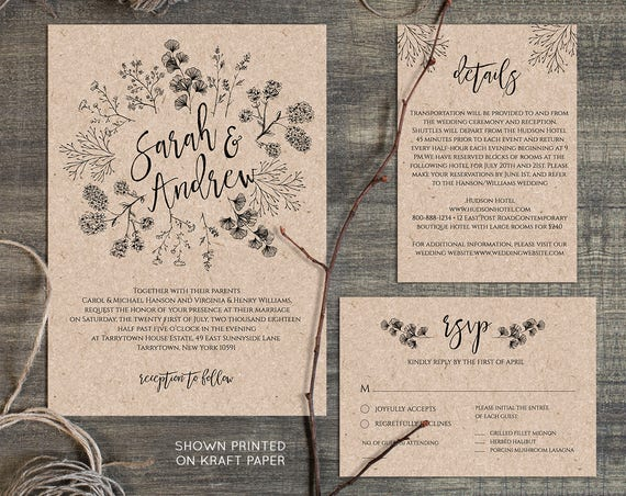 Wedding Invitation Template, Rustic Wreath, Printable Kraft Wedding Invite, RSVP, Instant Download, DIY, Digital Download, Editable #018A