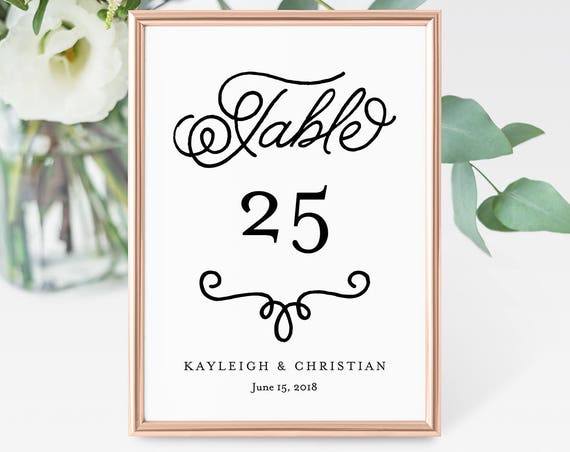 Table Number Card Template, Printable Wedding Table Number, DIY Seating Card, 100% Editable, Romantic Calligraphy, Templett #035-117TC