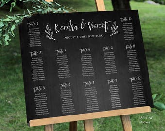 Wedding Seating Chart Template, Instant Download, 100% Editable, DIY Printable Rustic Seating Chart, Chalkboard Seating Plan #018-205SC