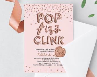 Bachelorette Party Invitation Template, Hen Do Invite, Rose Gold Balloon, Glitter Confetti, Instant Download, Editable, Templett #028-106BP