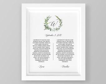 Anniversary Gift, 1st Year Paper, Wedding Vow Keepsake Wall Art, 100% Editable Template, Printable, Green Wreath 8x10 & 16x20 #016-110LS