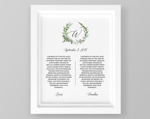 Anniversary Gift, 1st Year Paper, Wedding Vow Keepsake Wall Art, 100% Editable Template, Printable, Green Wreath 8x10 & 16x20 #016-110LS