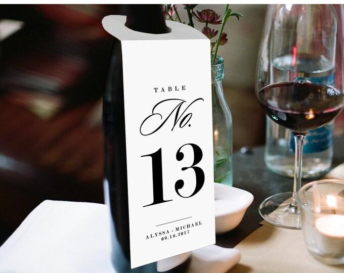Wine Table Number Card Template, Printable Wedding Wine Bottle Tag, DIY Custom Wine Tag, Instant Download, Editable PDF, Digital #101WT
