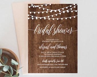 Bridal Shower Invitation Template, Printable Rustic Wedding Shower Invite, String Lights, Fully Editable, DIY, Instant Download #014-126BS