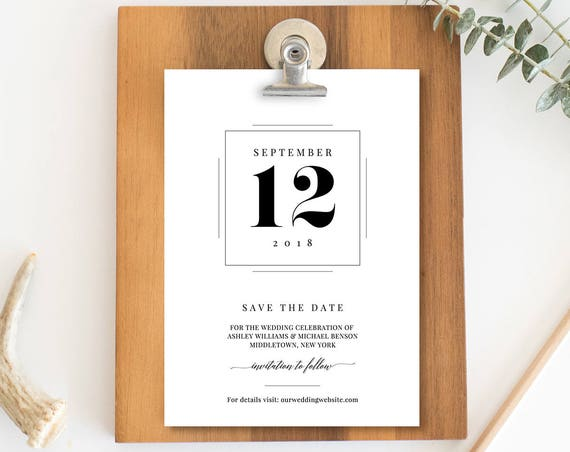 Save the Date Template, Modern Wedding Date Card, Printable Save the Date Announcement, 100% Editable, Instant Download, Digital #NC-117SD